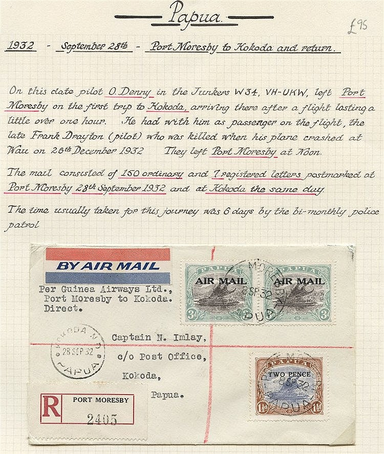 1932 (Sept 28) Port Moresby-Kokoda, registered flown cover, fine.
