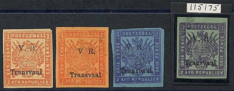 1879 Imperf both colours of 1d (some minor thins) and of 3d M, th