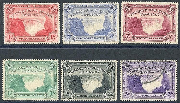 1905 Victoria Falls set 1d to 2/6d M, 5s VFU (odd perf fault), SG