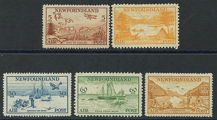 1935 Air set, fine M (60c pulled perf at top), SG.230/4. (5) Cat.