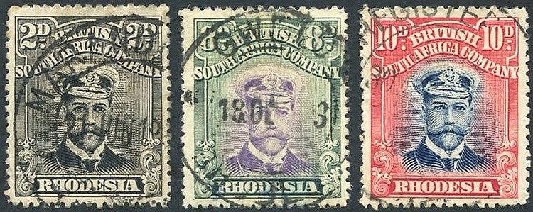 1913-22 Admirals Die II Perf 15, values 2d, 8d & 10d U, Cat. £245
