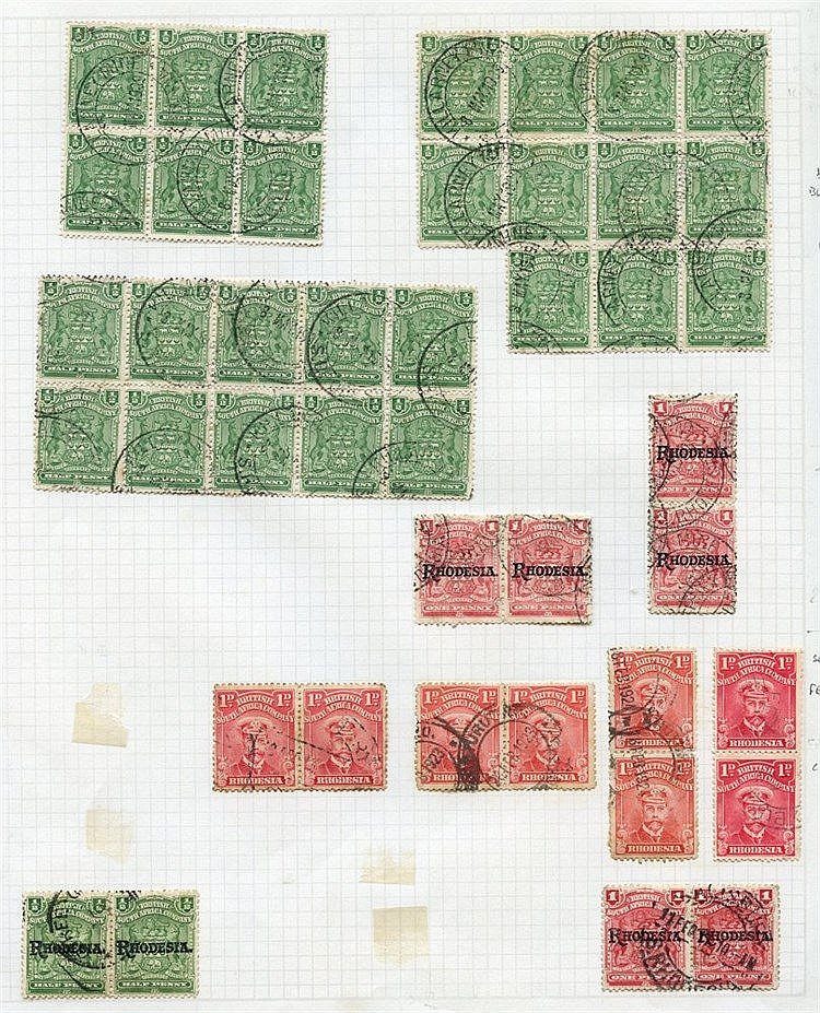 1898-1920 multiples U on leaves incl. 1898 ½d blocks of 6, 10 & 1