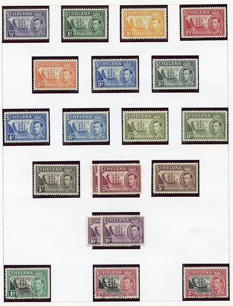 Collection on leaves from a few QV vals to 1s, 1903 2s, 8d, 1d M,
