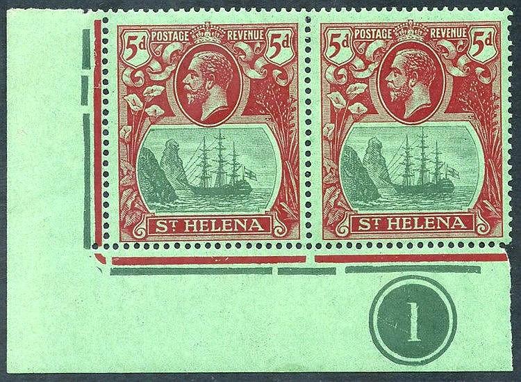 1922-27 MSCA 5d corner marginal M plate number pair incl. 'cleft