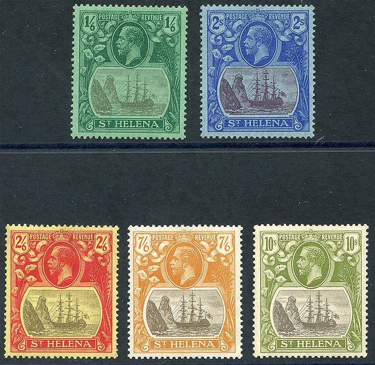 1922-37 MSCA 1/6d, 2s, 2/6d, 7/6d & 10s M, from SG.107/112 (5) Ca