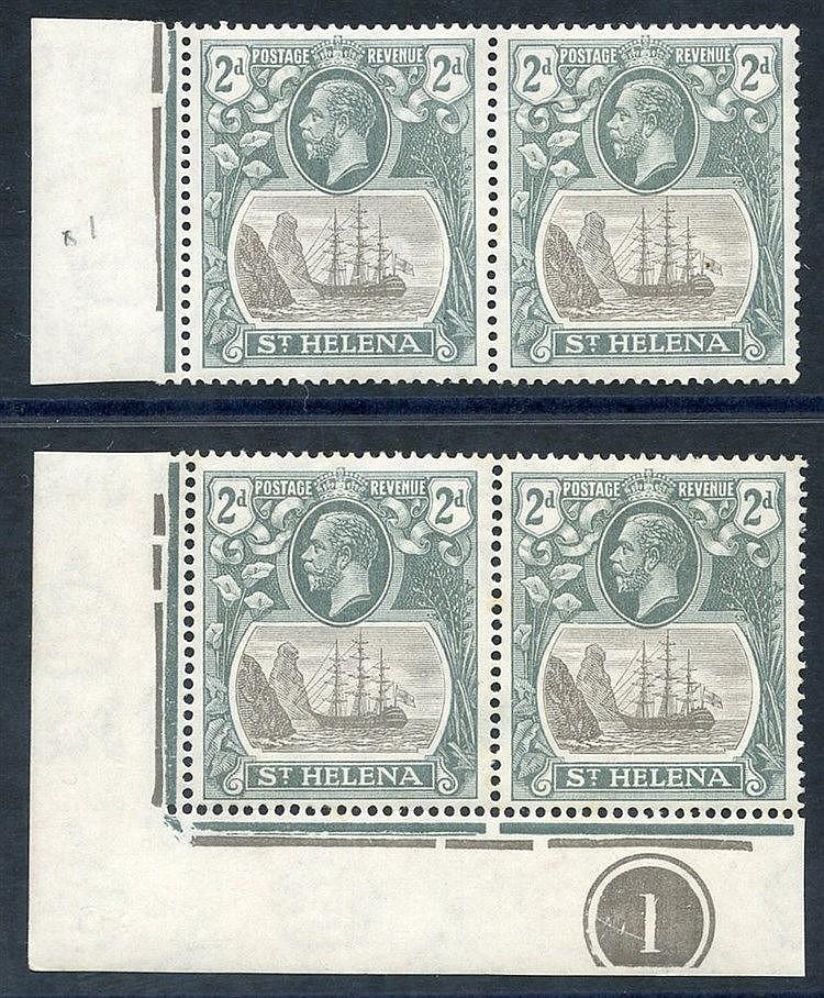 1922-37 MSCA 2d corner marginal plate pair incl. 'cleft rock' M (