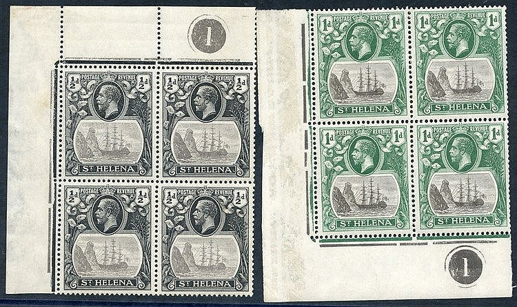 1922-37 MSCA ½d grey & black corner marginal plate block of four