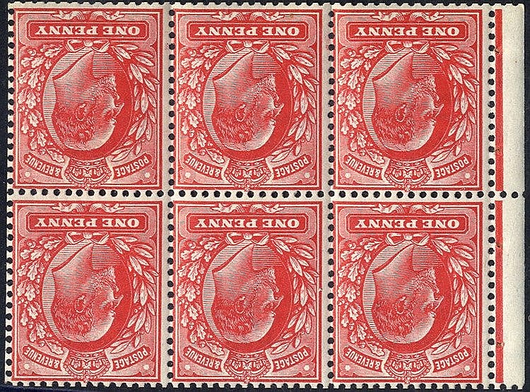 1904 1d scarlet booklet pane of six with binding margin attached,