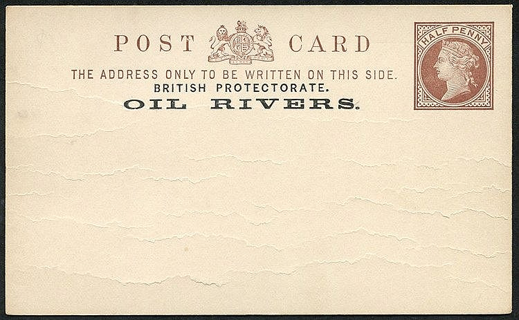 POSTAL STATIONERY range comprising cards with Oil Rivers 1892-93