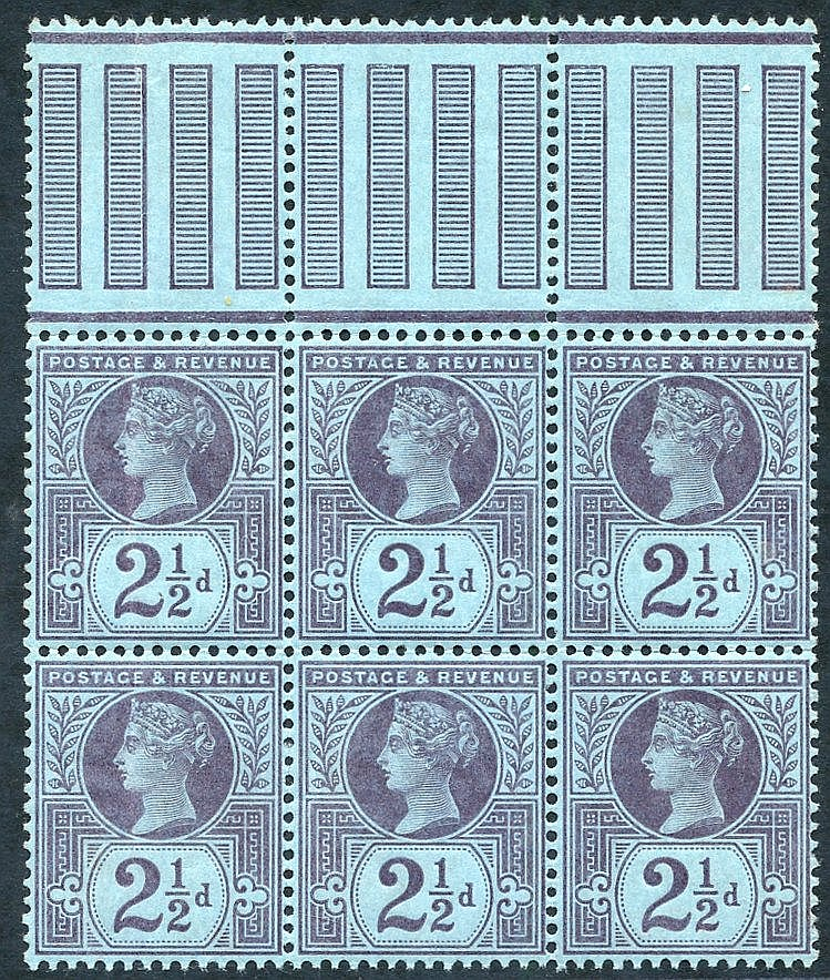 1887 Jubilee 2½d UM block of six with marginal pillars at top (hi
