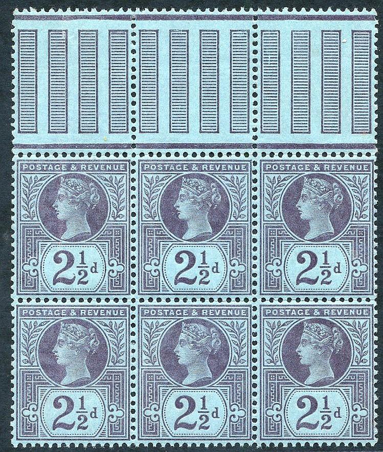 1887 Jubilee 2½d UM block of six with marginal pillars at top (hi