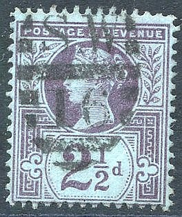 1887 2½d purple/blue WMK INVERTED, FU, SG.201wi. Scarce. (1) Cat.