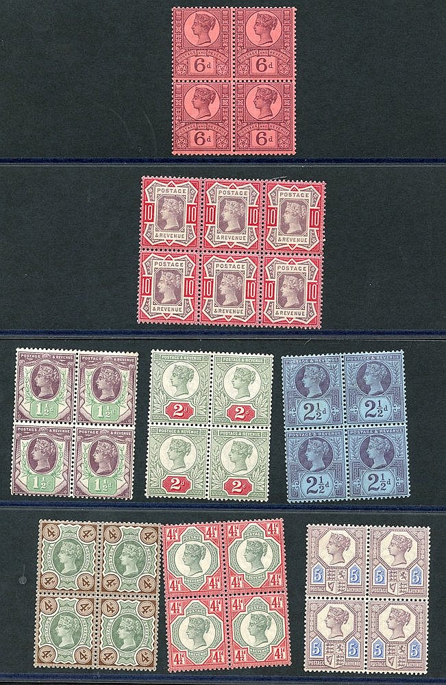 1887 Jubilee UM blocks of four comprising 1½d (couple of tiny ton
