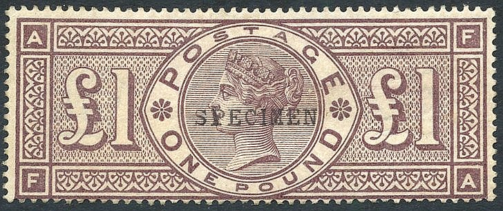 1884 Crowns £1 brown lilac optd SPECIMEN Type 9, good strong colo