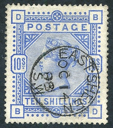 1883 10s ultramarine, superb U with a Eastsheen c.d.s, SG.183.