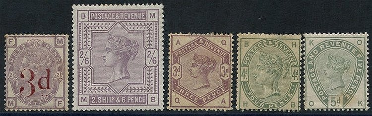 1883 3d on 3d M, some toning (SG.159), 1883 2/6d lilac M, creased
