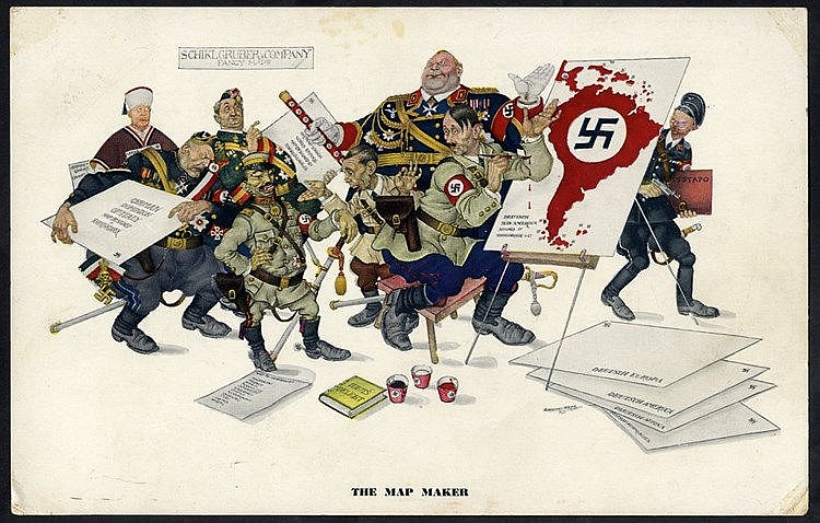 WWII Arthur Szyk caricature card for Esquire magazine, larger siz