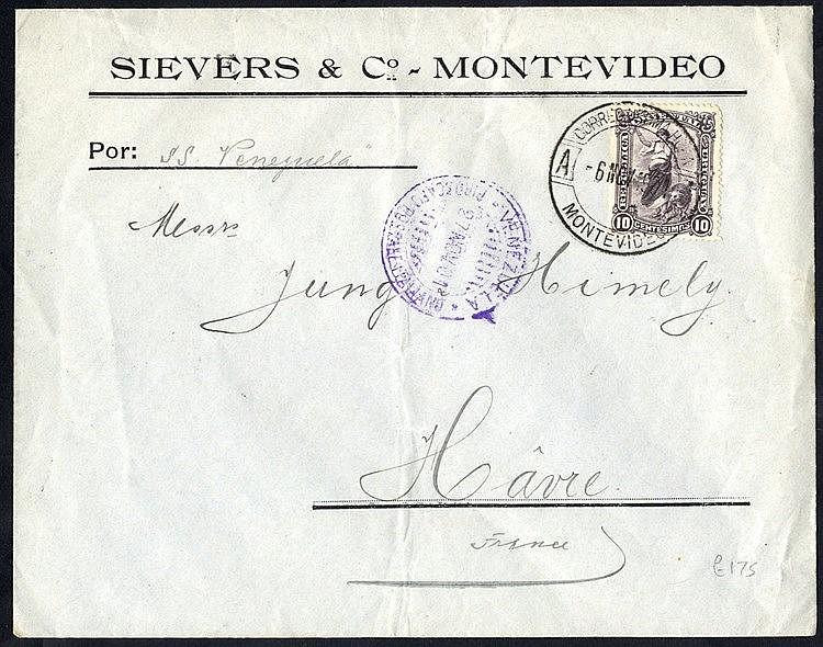 1901 commercial env to France with 10c stamp ex Montevideo & ship
