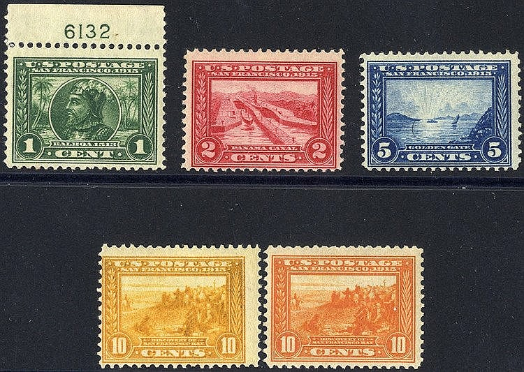 1913 Panama - Pacific Exposition P.12 set, fine M, SG.423/7. (5)
