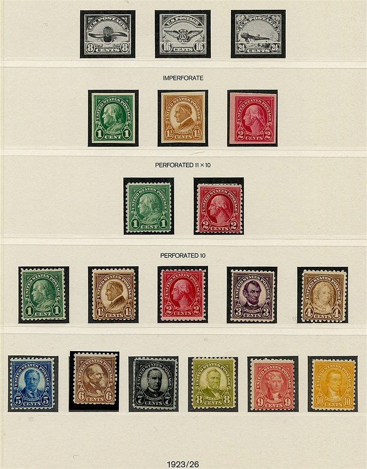 1922-32 P.10 President Defin set, Imperf set & P.11 x10 1c & 2c -