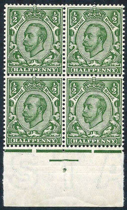 1912 ½d deep green, Die II Wmk Crown printed double (one albino),