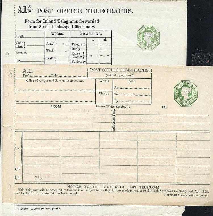 QV P.O Telegraphs 1s dies (2), Huggins TP10 & TP38, VF.