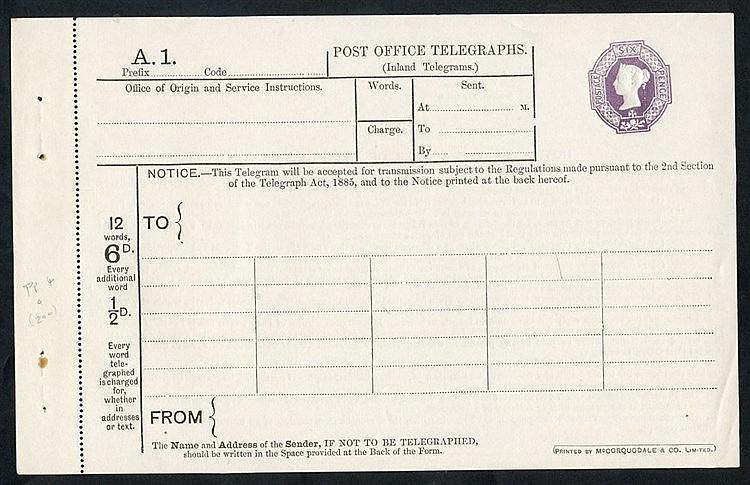 QV P.O Telegraph 6d die - 5 dot florets, Huggins TP14 (Cat. £200)