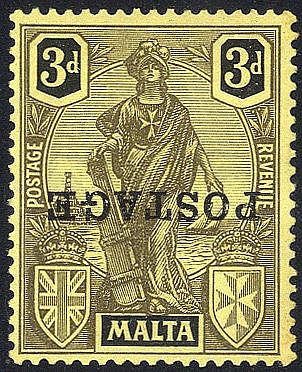 1926 POSTAGE 3d overprint INVERTED, M with traces of toning (as u