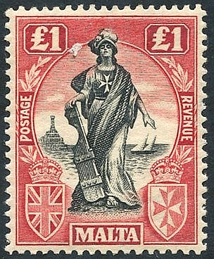 1922-26 MSCA £1 black & carmine red wmk sideways, fine M, SG.139.