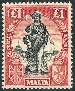 1922-26 MSCA £1 black & carmine red wmk sideways, fine M, SG.139.