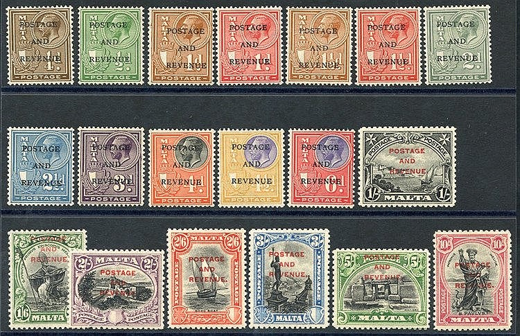 1928 Postage & Revenue optd set, fine M, SG.174/92. (19) Cat. £20