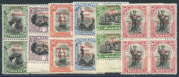 1928 POSTAGE & REVENUE Optd 1/6d to 10s (6 values) each UM BLOCK