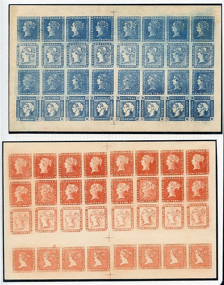 1847-59 Victorian composite sheets (2) in orange & blue each of 3