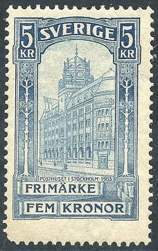 1903 5k blue Post Office, UM centered high, rounded corner perf,
