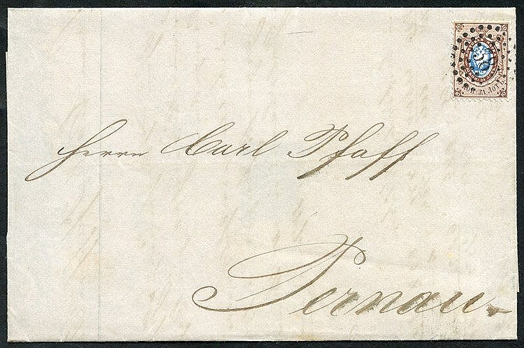 1859 Outer letter sheet bearing 1858 10k blue & brown with superb