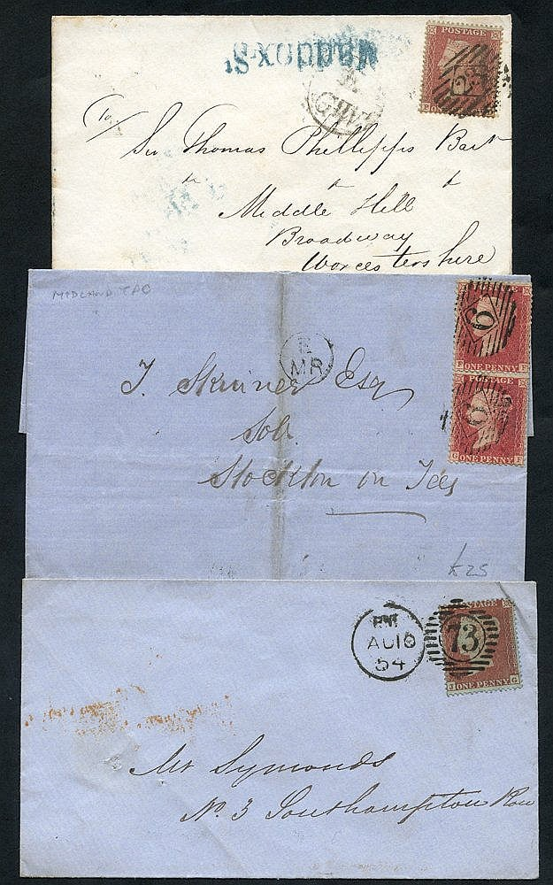 1854-78 six covers bearing strike of 'Gt Northern Railway' mail g