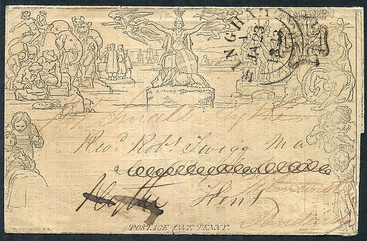 1840 One Penny Letter Sheet, Forme 3, Stereo A64, cancelled contr