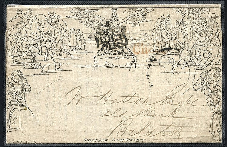 1840 One Penny Letter Sheet Stereo 'A9' Forme I, cancelled by the