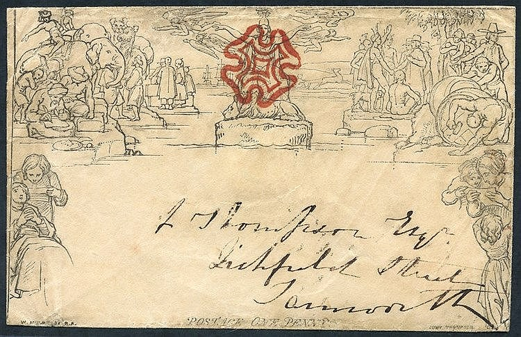 1840 One Penny Envelope, Forme 1, Stereo A142, cancelled by a sup