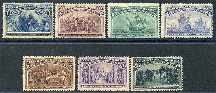 1893 Columbian 1c, 2c, 3c, 4c, 5c, 6c & 50c, all M, SG.235/40, 24