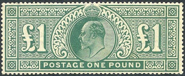 1902 £1 dull blue green, fine M, gum lightly toned, SG.266.