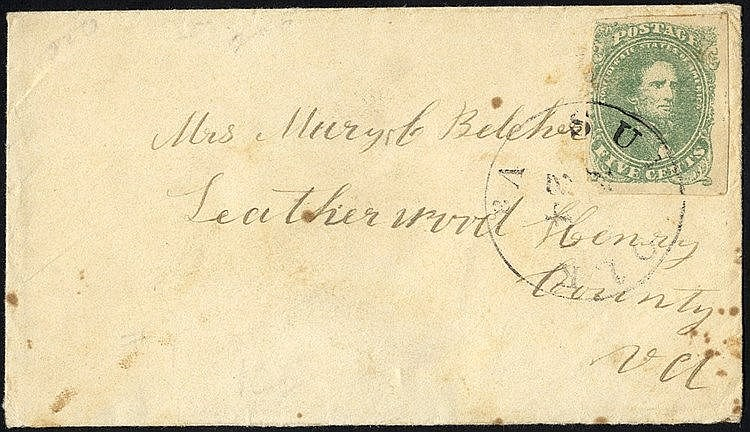 CONFEDERATE STATES 1861 cover bearing 5c light green, tied Suffol