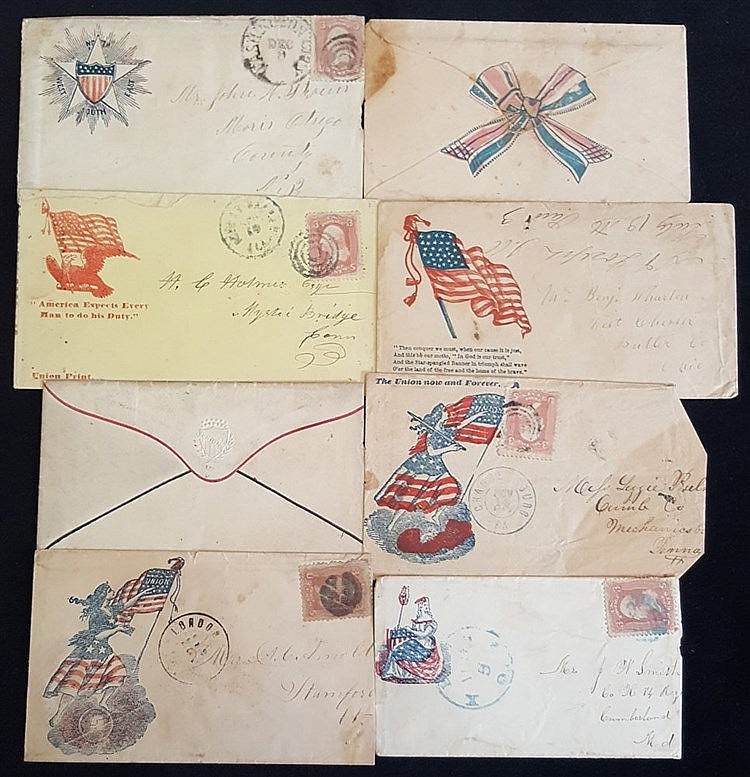 1861-65 patriotic illustrated covers 3c frankings, showing Libert