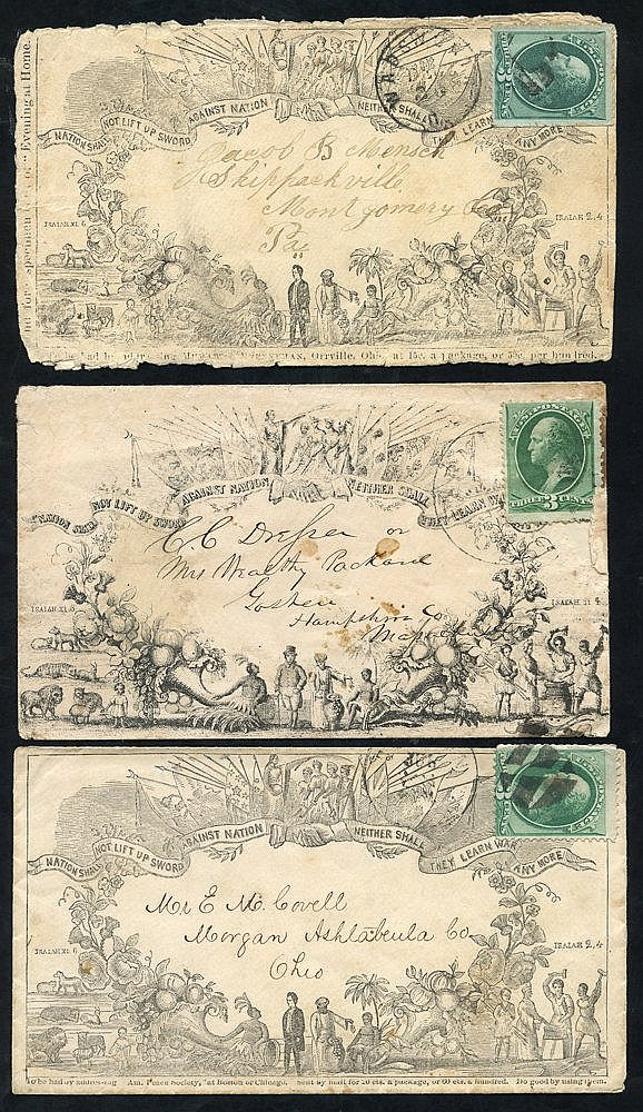 c1870 three pictorial envelopes each franked 3c Washington, plus