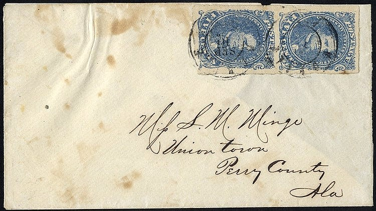 CONFEDERATE STATES 1862 cover with vertical pair 5c blue (Scott 4