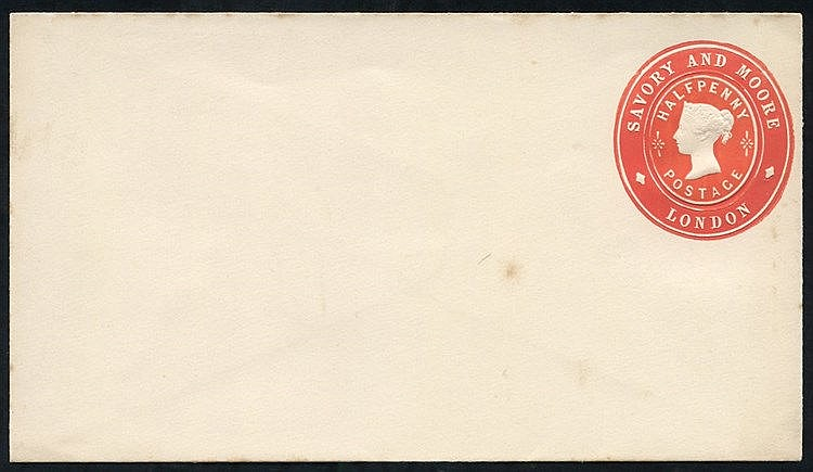 Advertising Rings QV ½d vermilion Savory & Moore, London envelope