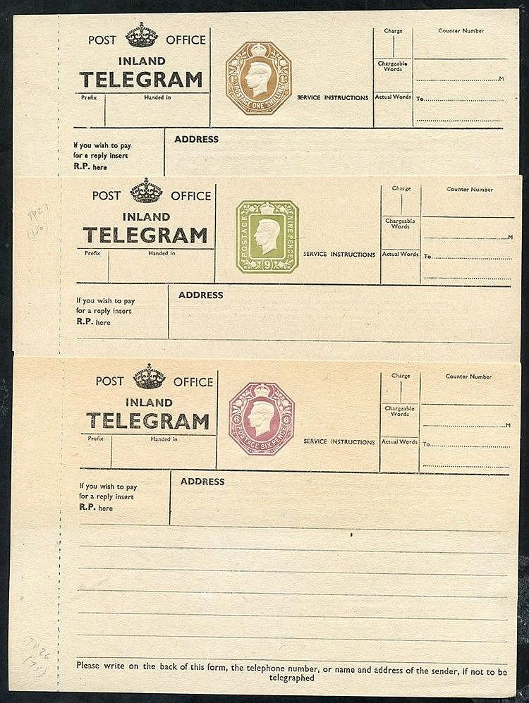 KGV P.O Inland Telegraph 6d, 9d & 1s dies TP26 (Cat. £75), TP27 (
