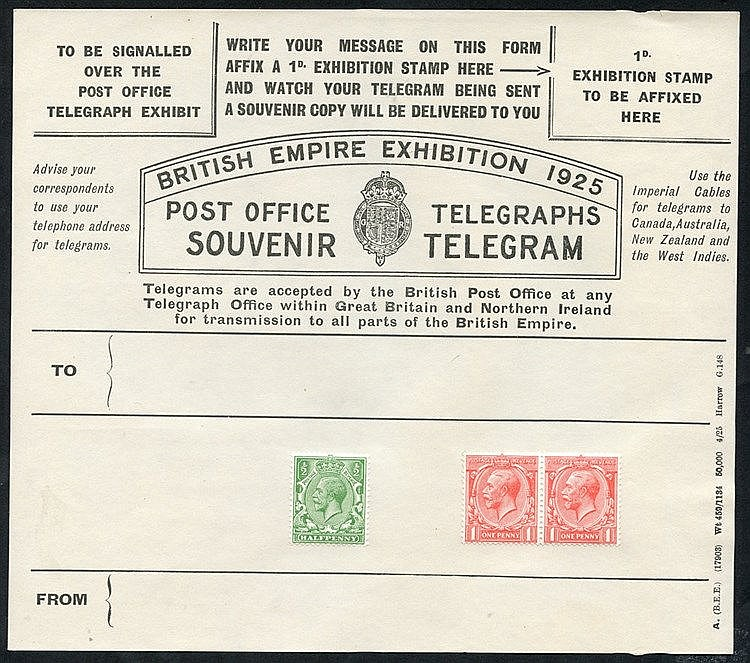 1925 Wembley Exhibition unused souvenir telegrams (2). The black