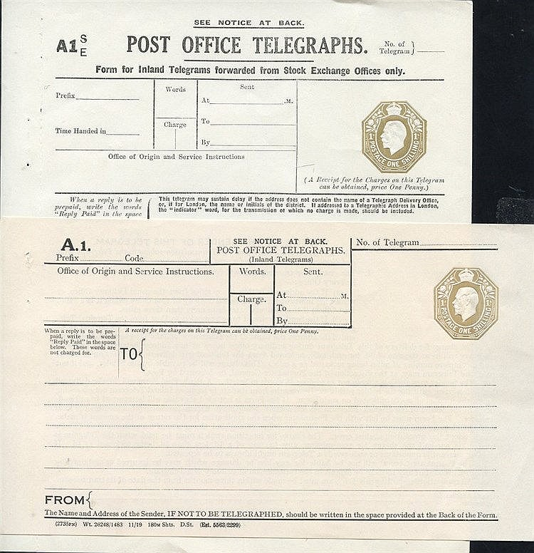 KGV P.O Telegraph 1s dies Stock Exchange, Huggins TP49(bc) Cat. £