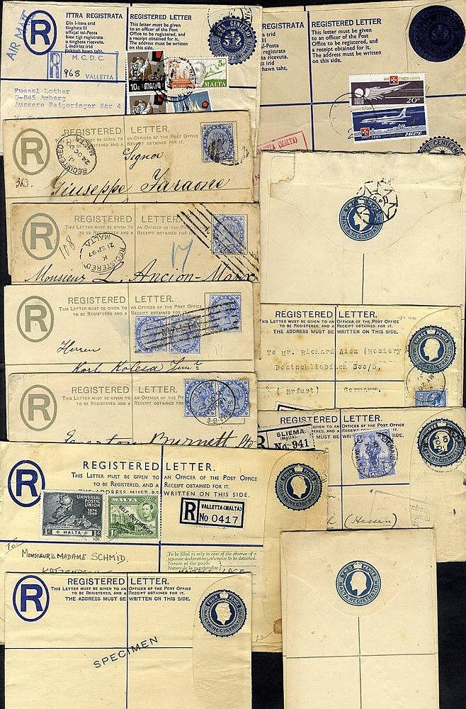 1892-c1950 registered envelopes (26) incl. 10 optd SPECIMEN & 6 p